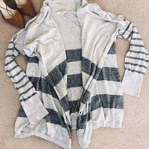LOFT Striped Gray Cardigan. Size XL